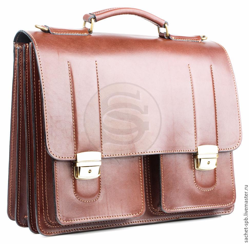 Men's leather briefcase 'Prestige' brown, Men\'s bag, St. Petersburg,  Фото №1