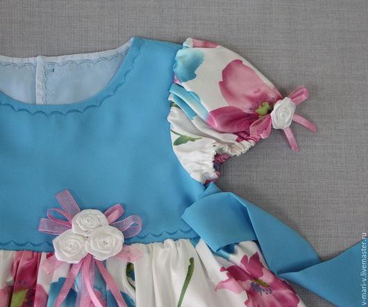 Одежда для девочек, ручной работы. Ярмарка Мастеров - ручная работа. Купить Платье для девочки Амелина нарядное. Handmade. Голубой