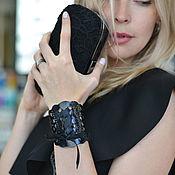 Bead bracelet handmade. Livemaster - original item Leather bracelet Black lace. Handmade.