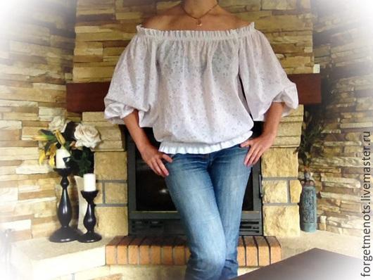 """Блузки ручной работы. Ярмарка Мастеров - ручная работа. Купить Блузка из итальянского батиста """"Очарование"""". Handmade. Блузка белая"""