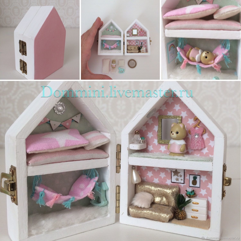 Деревянный мини-домик с мини-зверьком, Миниатюрные игрушки, Сарапул, Фото №1