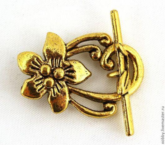 Замок застежка для украшений тоггл Цветок комплектами по три штуки Цинковый сплав Цвет покрытия застёжки античное золото