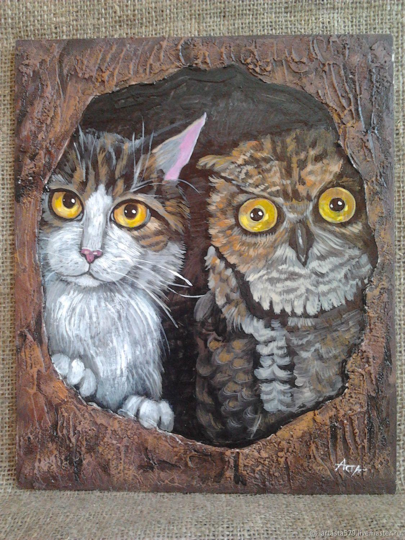 Кот и сова картина акрилом, Картины, Бийск, Фото №1