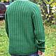Для мужчин, ручной работы. Мужской пуловер из резинки с косами. Knitted Sea. Интернет-магазин Ярмарка Мастеров. Мужской свитер