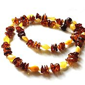 Работы для детей, handmade. Livemaster - original item Natural amber beads cognac yellow gift For woman. Handmade.