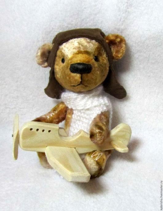Мишки Тедди ручной работы. Ярмарка Мастеров - ручная работа. Купить Маленький пилот. Handmade. Коричневый, милый подарок, дерево