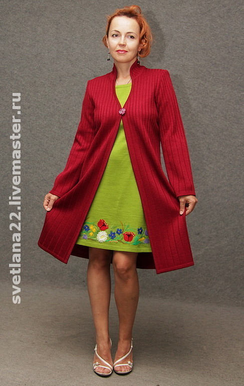 """Верхняя одежда ручной работы. Ярмарка Мастеров - ручная работа. Купить Вязаный кардиган-пальто""""В ритме города"""". Handmade. бордовый"""