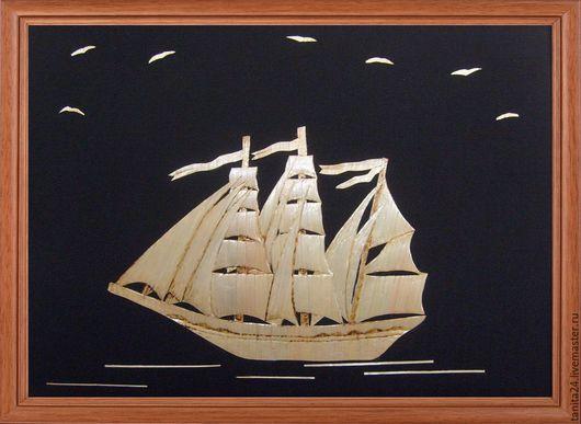"""Пейзаж ручной работы. Ярмарка Мастеров - ручная работа. Купить Панно """"Кораблик"""". Handmade. Золотистый, картина, панно, солома, Соломка"""