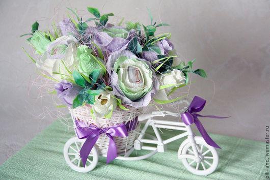 """Букеты ручной работы. Ярмарка Мастеров - ручная работа. Купить Букет из конфет в велосипеде """"Французский шик"""". Handmade. Мятный"""