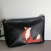 Сумки и аксессуары handmade. Livemaster - original item Women`s leather bag.Clutch Bag with Fox applique black. Handmade.