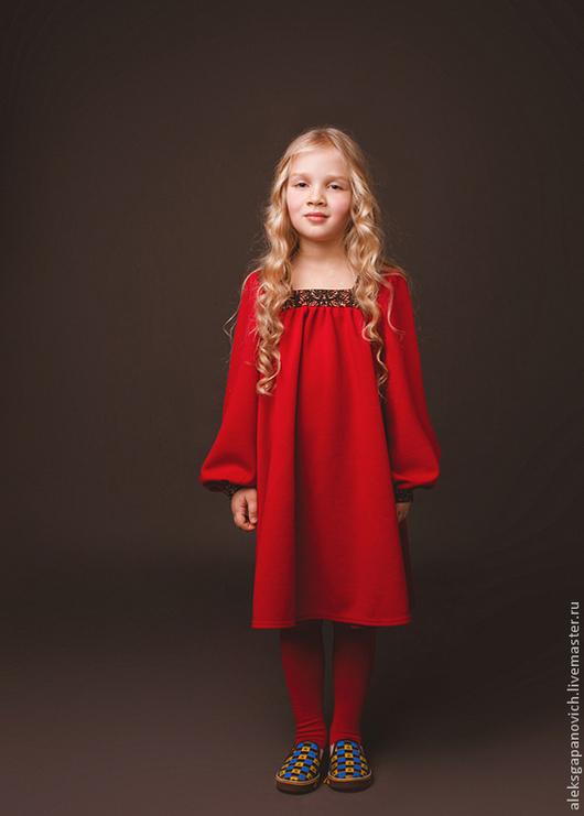 Одежда для девочек, ручной работы. Ярмарка Мастеров - ручная работа. Купить Красное платье. Handmade. Ярко-красный, детская одежда