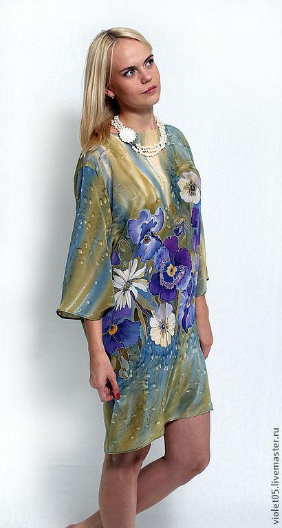 Платья ручной работы. Ярмарка Мастеров - ручная работа. Купить Шелковое платье  Анютки - батик, шелк,ручная роспись. Handmade.