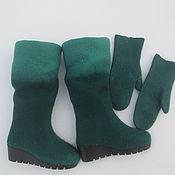 """Обувь ручной работы. Ярмарка Мастеров - ручная работа Валяные сапожки и варежки """"Ирландия"""". Handmade."""