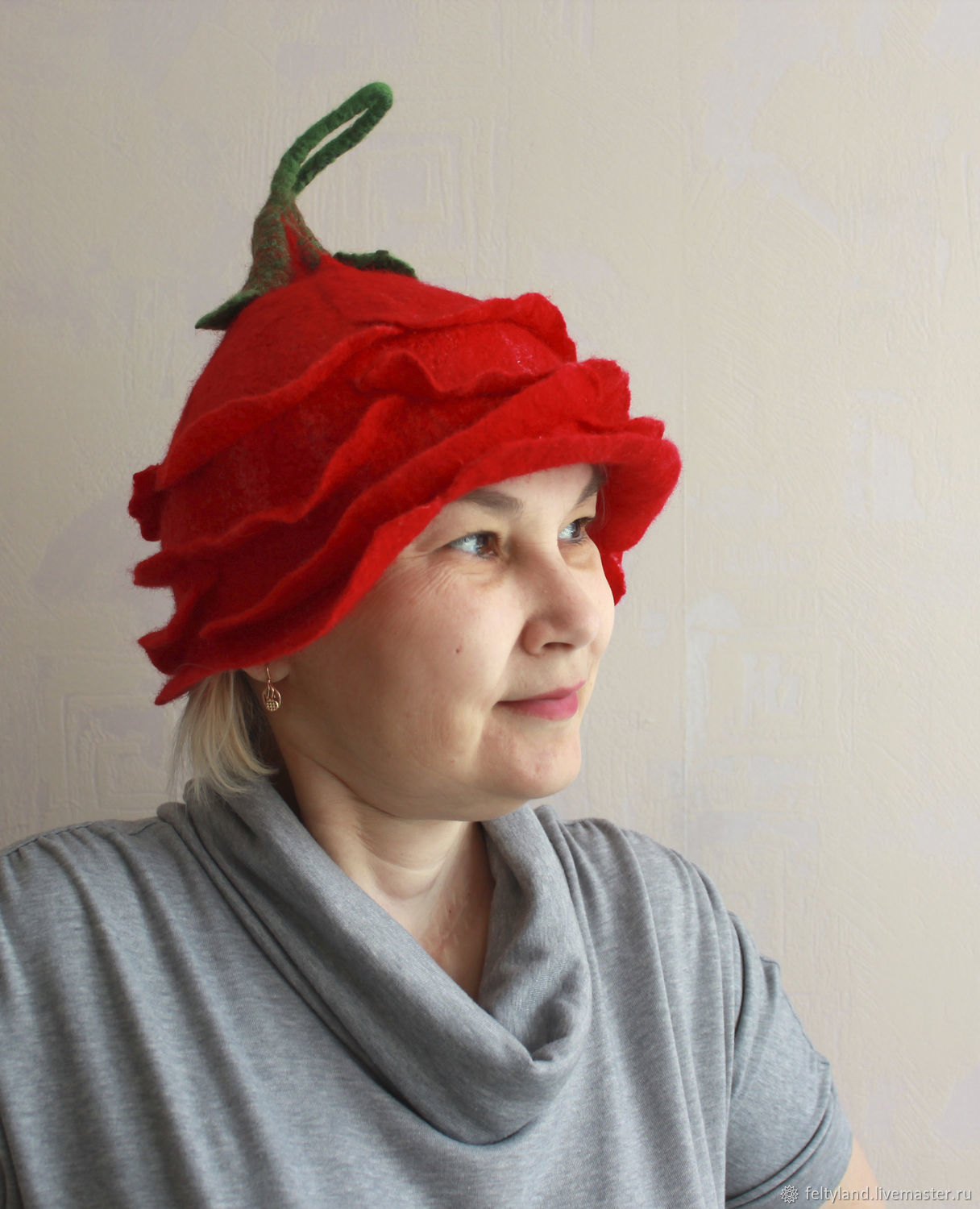 Women's felted hat for bath and sauna rosette, Caps, Kemerovo,  Фото №1