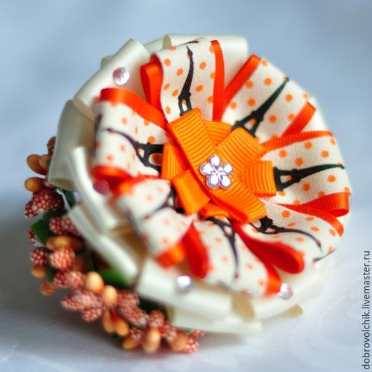 """Заколки ручной работы. Ярмарка Мастеров - ручная работа. Купить Резинка для волос """"Осень в Париже"""". Handmade. Разноцветный, оранжевый"""