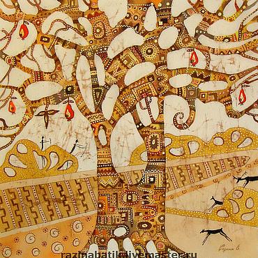 Картины и панно ручной работы. Ярмарка Мастеров - ручная работа Древо жизни(батик панно). Handmade.