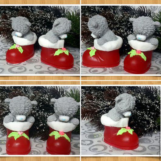 """Материалы для косметики ручной работы. Ярмарка Мастеров - ручная работа. Купить 3D Силиконовая форма для мыла """"Тедди в новогоднем сапожке"""". Handmade."""