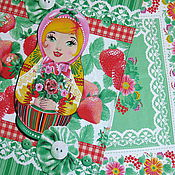 Набор полотенец для кухни, дачи или подарка Матрёшка с ягодами.