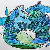 """Картины и панно ручной работы. Ярмарка Мастеров - ручная работа Картина акварелью """"Синяя собака"""". Handmade."""