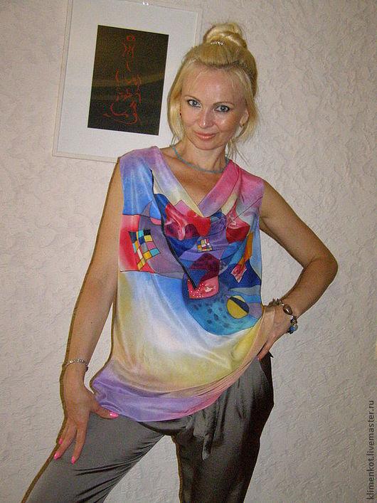 Большие размеры ручной работы. Ярмарка Мастеров - ручная работа. Купить блуза-Кандинский. Handmade. Рисунок, блузка, летняя одежда