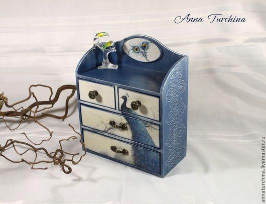 """Мини-комоды ручной работы. Ярмарка Мастеров - ручная работа. Купить Комодик """"Голубой павлин"""".. Handmade. Голубой, комодик декупаж"""