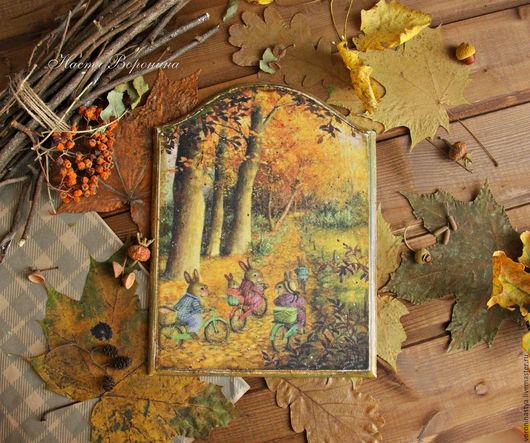 Животные ручной работы. Ярмарка Мастеров - ручная работа. Купить Панно Золотая осень. Handmade. Комбинированный, сказка, листопад