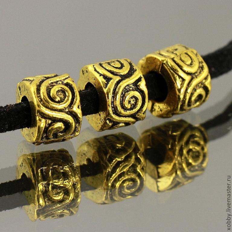 Бусины металлические цилиндрической формы с орнаментом в виде волн с покрытием имитирующим античное золото с чернением