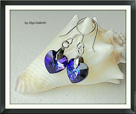 """Серьги ручной работы. Ярмарка Мастеров - ручная работа. Купить Серьги """"Deep violet"""" с кристаллами Swarovski и серебром 925 пробы. Handmade."""