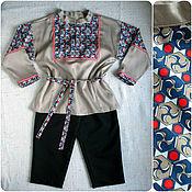 Работы для детей, ручной работы. Ярмарка Мастеров - ручная работа Русский народный костюм для мальчика, бежевый триколор. Handmade.