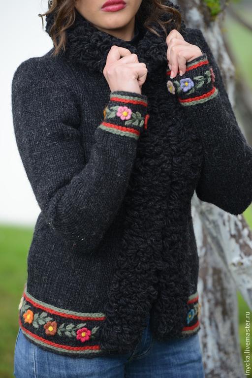 Верхняя одежда ручной работы. Ярмарка Мастеров - ручная работа. Купить Куртка вязаная 14WJ17. Handmade. Черный, куртка вязаная