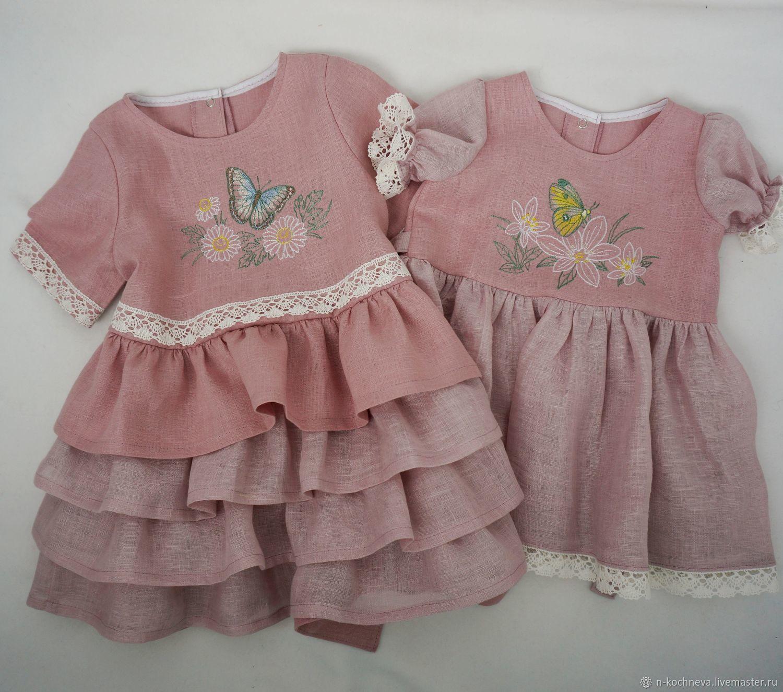 Платья для сестричек из льна с вышивкой
