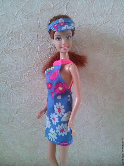 Одежда для кукол ручной работы. Ярмарка Мастеров - ручная работа. Купить Летний сарафан для Барби. Handmade. Комбинированный, кепка для барби