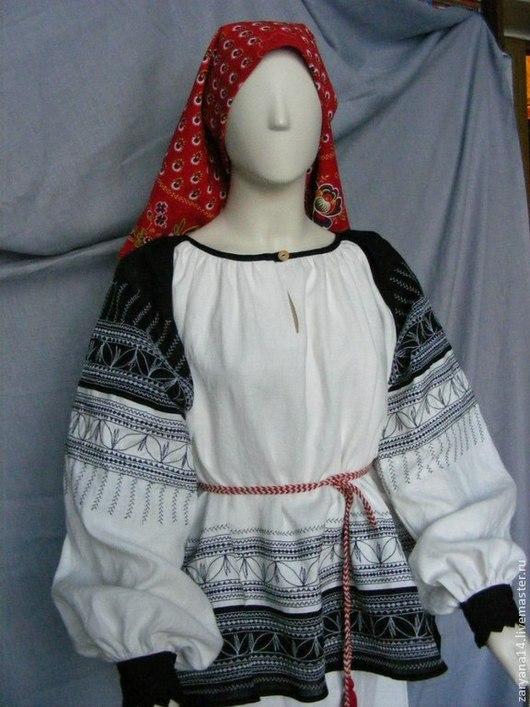 Одежда ручной работы. Ярмарка Мастеров - ручная работа. Купить Блузка черно-белая с вышивкой. Handmade. Чёрно-белый