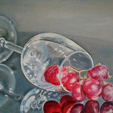 Картины и панно ручной работы. Ярмарка Мастеров - ручная работа Картина маслом Стекло, бокал, виноград натюрморт в стиле гиперреализм. Handmade.