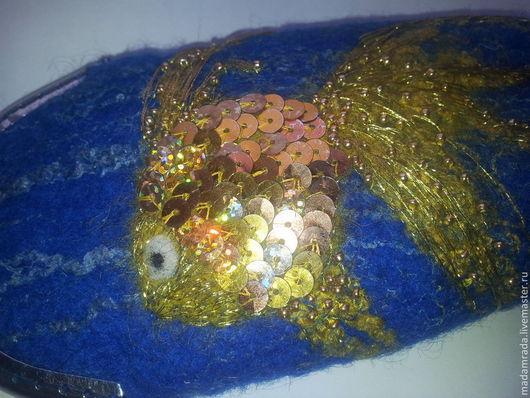 Персональные подарки ручной работы. Ярмарка Мастеров - ручная работа. Купить Очечник  Золотая рыбка. Handmade. Тёмно-синий, Очечник