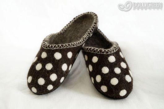 Обувь ручной работы. Ярмарка Мастеров - ручная работа. Купить Валяные тапочки-шлёпки. Handmade. Тапочки, тапочки валяные