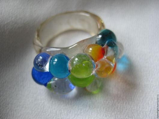"""Кольца ручной работы. Ярмарка Мастеров - ручная работа. Купить Кольцо из муранского стекла """"Гроздь росы"""". Handmade. Разноцветный, кольца"""