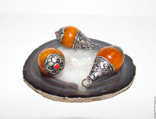 Для украшений ручной работы. Ярмарка Мастеров - ручная работа. Купить Тибетская Серебрянная подвеска-бусина. Handmade. Оранжевый, непал