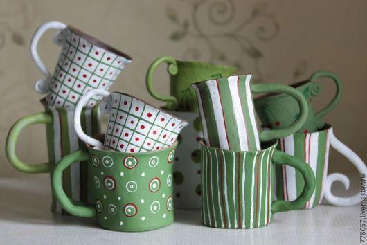 """Кружки и чашки ручной работы. Ярмарка Мастеров - ручная работа. Купить посуда в стиле """"Лето"""". Handmade. Зеленый, чай чаепитие"""