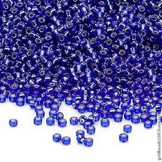 Для украшений ручной работы. Ярмарка Мастеров - ручная работа. Купить MIYUKI КРУГЛЫЙ 15/0  цвет 20 silver-lined transparent cobalt 10 гр. Handmade.