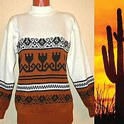 Одежда handmade. Livemaster - original item Knitted sweater with ornament in Mexican style. Handmade.