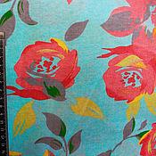 Материалы для творчества ручной работы. Ярмарка Мастеров - ручная работа Кулирная гладь Цветы на бирюзовом. Handmade.