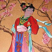 """Картины и панно ручной работы. Ярмарка Мастеров - ручная работа Панно """"Китайская принцесса"""" ручная вышивка натуральным шелком. Handmade."""