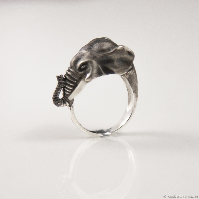 Кольцо серебро 925 Слон с бивнями. Ювелирная мастерская Золотой Жук. (yargoldbug) Россия, Ярославль