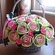 Букеты ручной работы. Ярмарка Мастеров - ручная работа. Купить Букет из конфет в салатово-розовых тонах в корзине. Handmade. Разноцветный