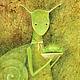 Фантазийные сюжеты ручной работы. Ярмарка Мастеров - ручная работа. Купить Портрет зеленой Улитки...Картина-принт на холсте.. Handmade.