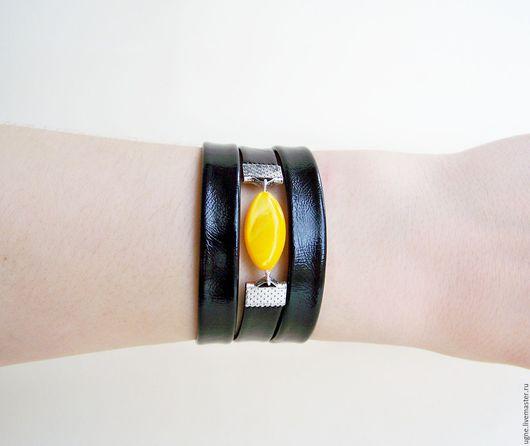 Стильный браслет Черно-желтый браслет