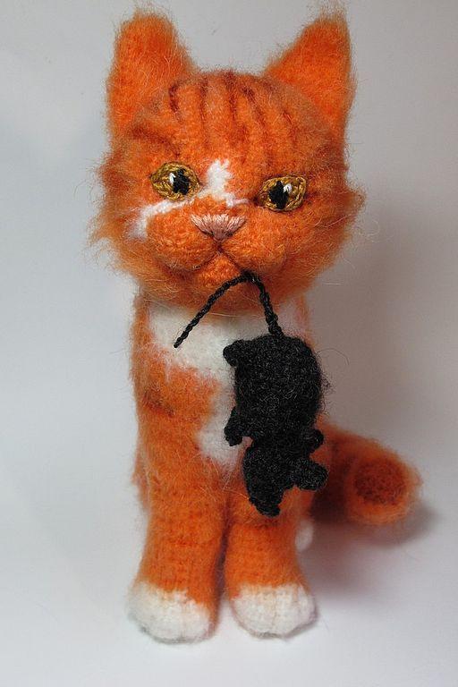 Игрушки животные, ручной работы. Ярмарка Мастеров - ручная работа. Купить Рыжий охотник - кот - вязаная мягкая игрушка - коллекционная кукла. Handmade.