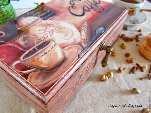 """Кухня ручной работы. Ярмарка Мастеров - ручная работа. Купить Чайный короб """"La Caffe"""". Handmade. Бордовый, чаепитие"""
