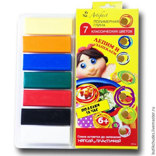 Набор полимерной глины Артефакт из 7-ми классических цветов: белый, мимоза, оранжевый, алый, синий, изумрудный, черный